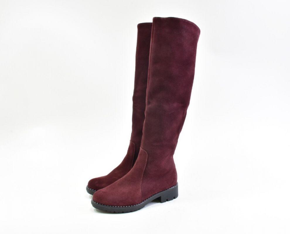 Замшеві зимові чоботи на низькому ходу марсалового кольору - купити ... c7d628b4f90f6