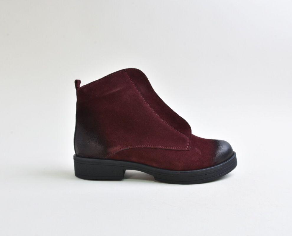 Замшеві марсалові зимові черевики на низькому ходу - купити в Україні  6baa20c4def67